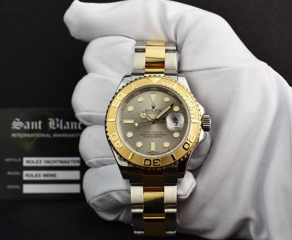 ROLEX 40mm 18kt Gold & Stainless Steel Yachtmaster Slate Dial 16623
