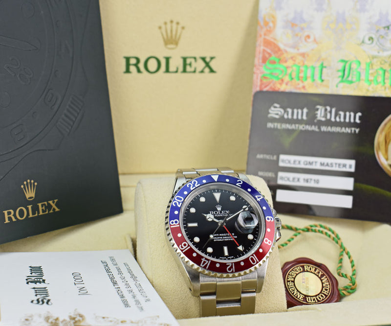 ROLEX - 40mm Stainless GMT Master II Pepsi Blue-Red Bezel SEL 16710