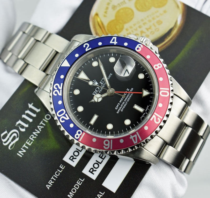 ROLEX - 40mm Stainless GMT Master II Pepsi Blue Red Bezel SEL 16710