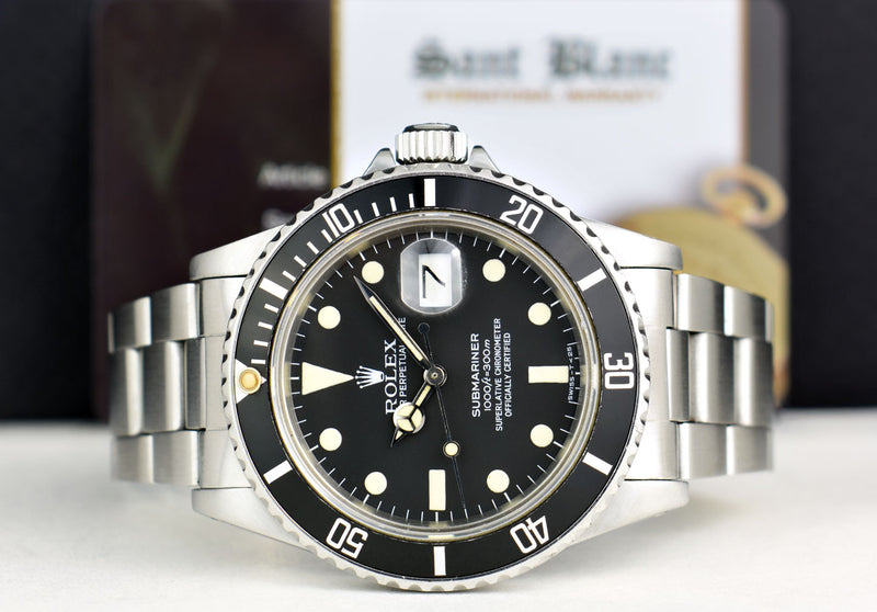 ROLEX Mens Classic Stainless Submariner Black Dial with Box & Books Model 16800