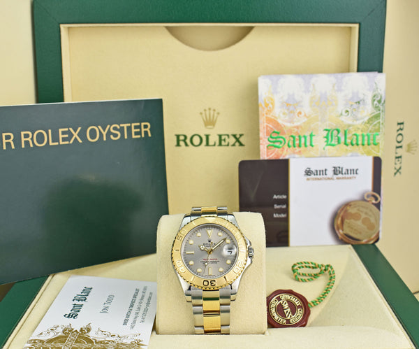 ROLEX Midsize 18KT Gold & Stainless Steel Yacht-Master Slate Dial Model 168623
