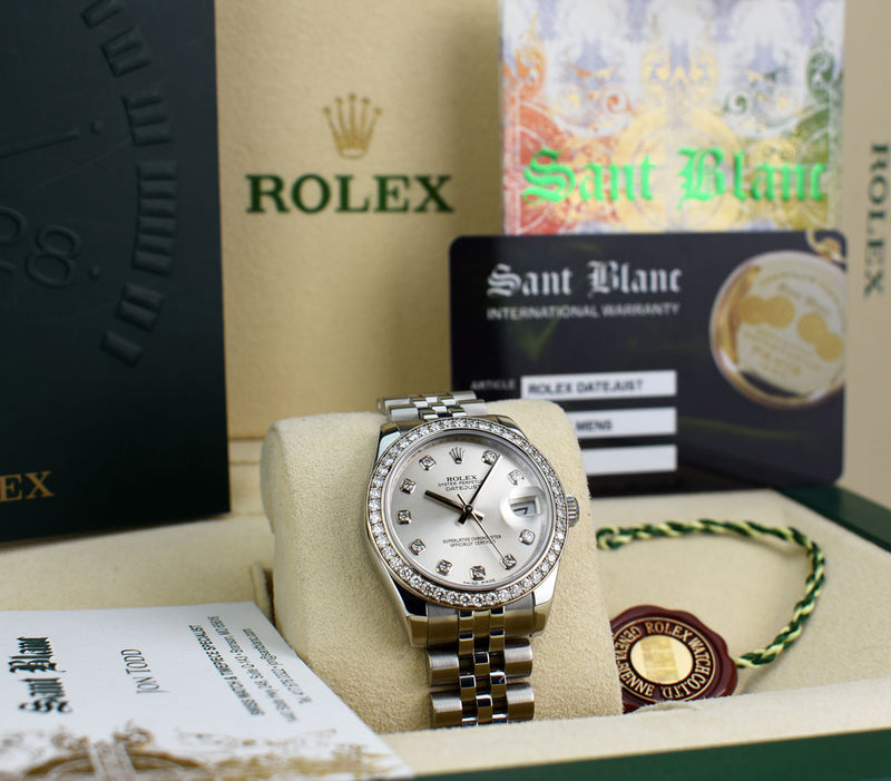 ROLEX 31mm 18kt White Gold & Stainless DateJust Silver Diamond Dial 178384