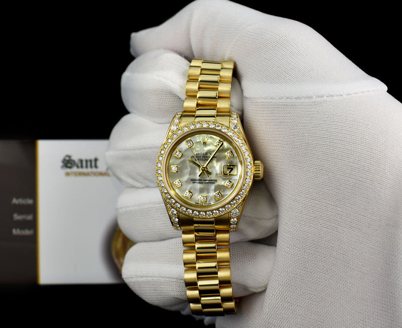 ROLEX Ladies 18kt Gold Datejust Diamond President Mother of Pearl Diamond Dial Model 179158