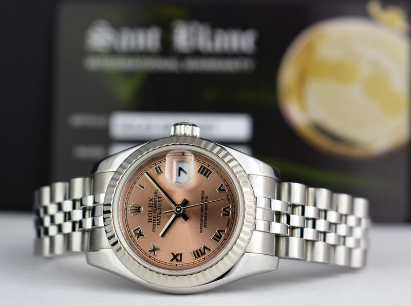 ROLEX 26mm 18kt White Gold & Stainless Steel Datejust Rose Roman Dial Model 179174