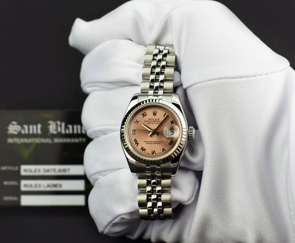 ROLEX - 26mm 18kt White Gold & Stainless Datejust Rose Roman 179174