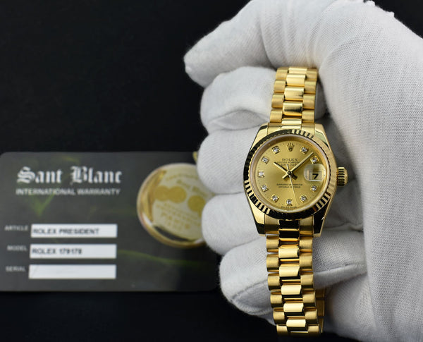 ROLEX - 26mm 18kt Gold Datejust PRESIDENT Champagne Diamond 179178