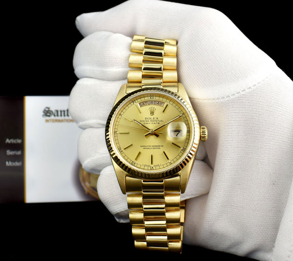 ROLEX 18kt Yellow Gold Day Date President Champagne Stick Dial Model 18038