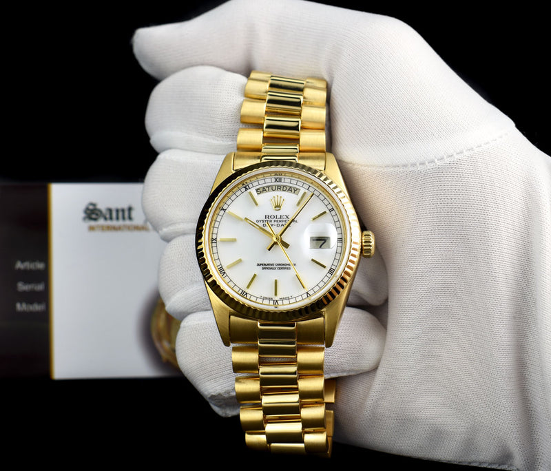 ROLEX 18kt Yellow Gold Day Date President White Stick Dial Model 18038