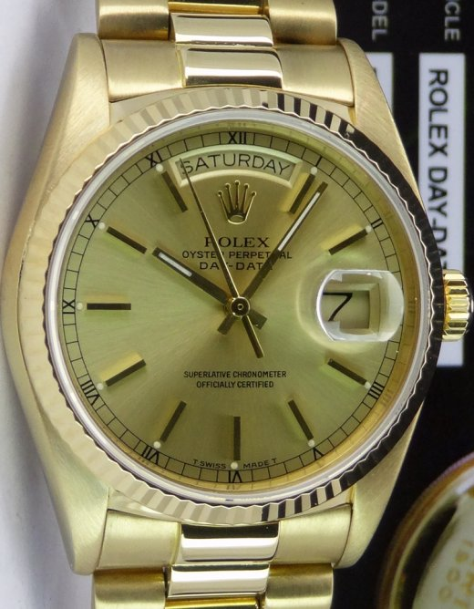 ROLEX 18kt Gold Day Date President Champagne Stick Dial Model 18038