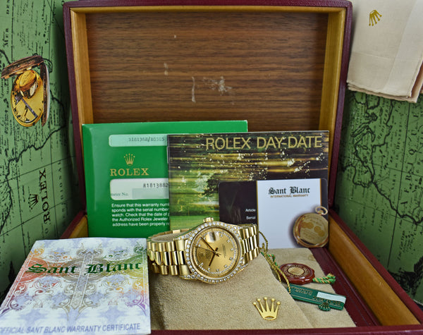 ROLEX 18kt Gold Day Date President Champagne Cartouche Diamond Dial Model 18138