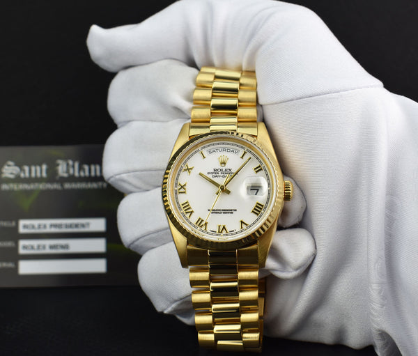 ROLEX - 18kt Yellow Gold DayDate President - White Roman 18238