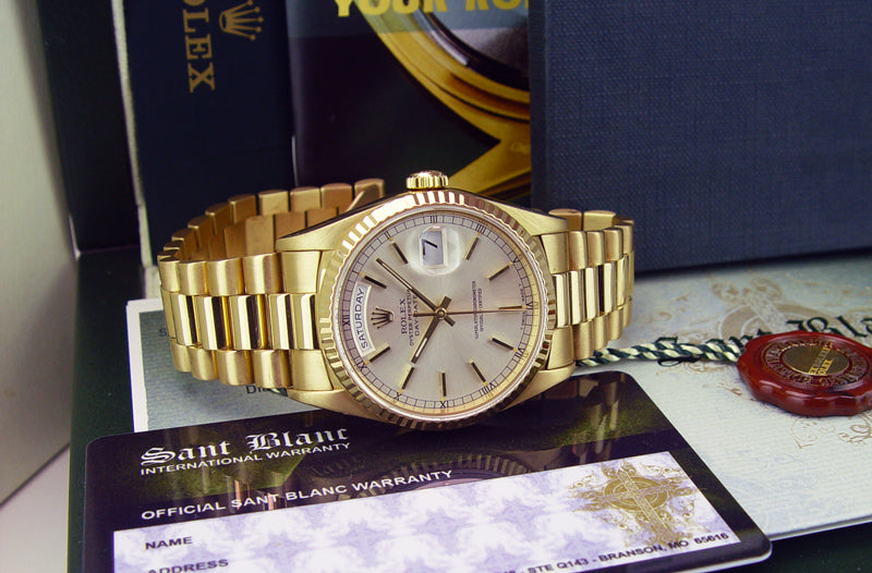 ROLEX 36mm Mens 18kt Gold Day Date President Silver Stick Dial Model 18238