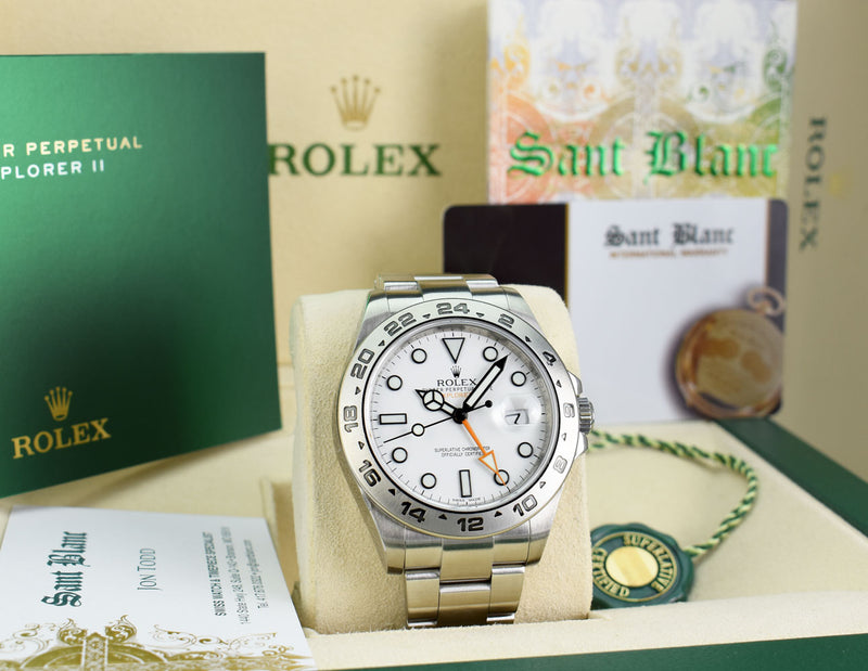 ROLEX Mens Stainless Steel Explorer II White Index Dial Model 216570