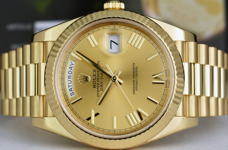 ROLEX 40mm 18kt Gold President Day Date 40 Champagne Roman 228238