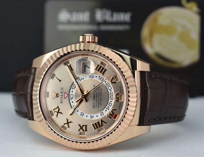 ROLEX - 2019 42mm 18kt Rose Gold Sky-Dweller Silver Roman Dial Model 326135