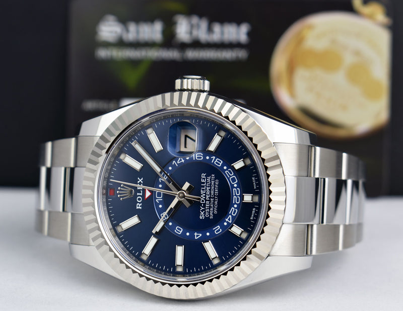 ROLEX - 42mm 18kt White Gold & Stainless Sky-Dweller Blue Dial Model 326934