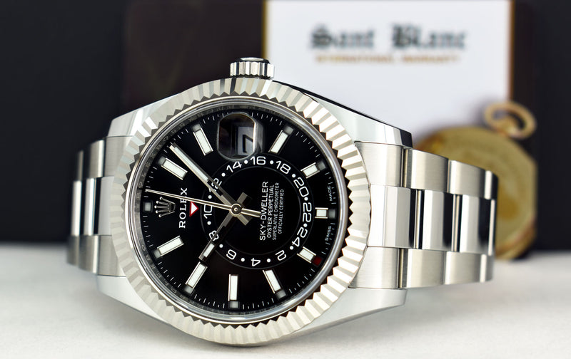 2021 ROLEX 42mm White Gold & Stainless Sky Dweller Black Index Dial Card Model 326934