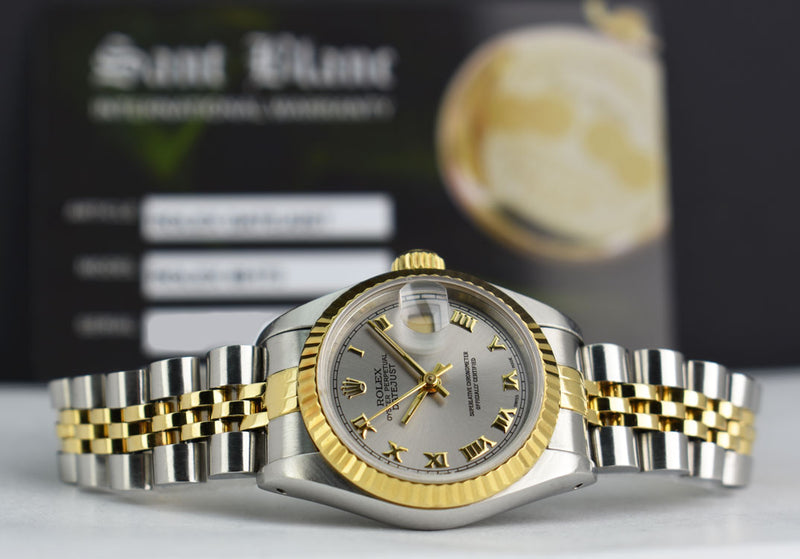 ROLEX Ladies 18kt Yellow Gold & Stainless Steel DateJust Silver Roman Dial Model 69173