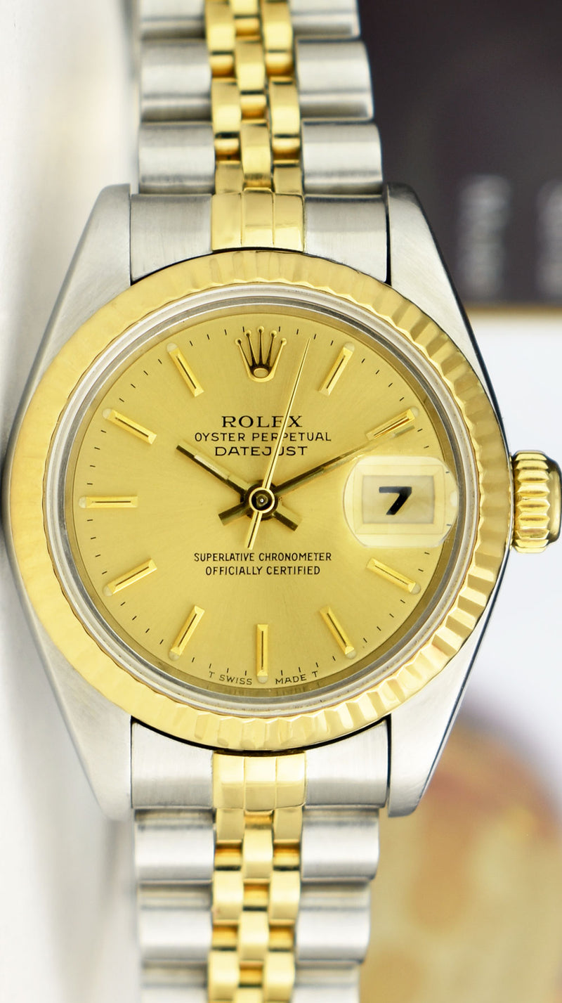 ROLEX Ladies 18kt Gold & Stainless Steel DateJust Champagne Stick Dial Model 79173