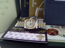 ROLEX 18kt Gold & Stainless Steel Ladies DateJust Mother of Pearl Roman Dial Model 69173