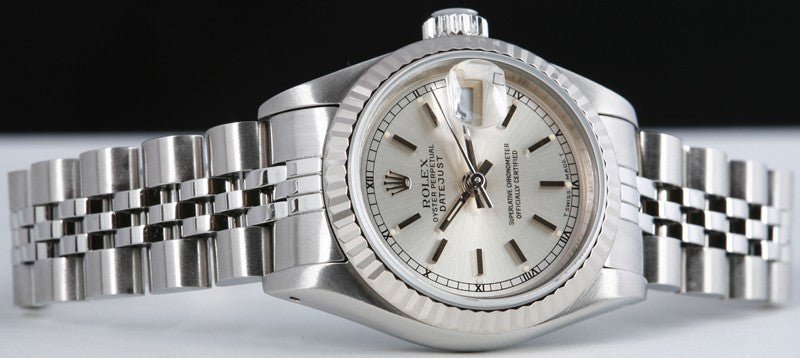 ROLEX Ladies 26mm 18kt White Gold & Stainless Steel DateJust Silver Stick Model 69174