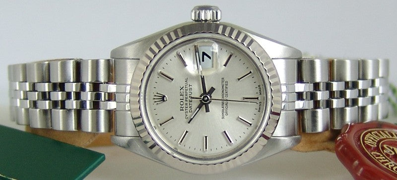 ROLEX - Ladies 18kt White Gold & SS DateJust Silver Stick - 69174