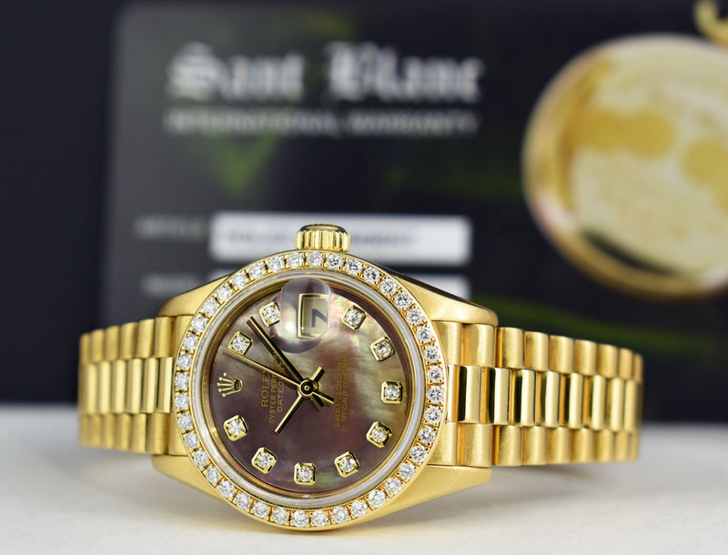ROLEX 18kt Gold President Datejust 26 MOP Diamond Dial Diamond Bezel Model 69138