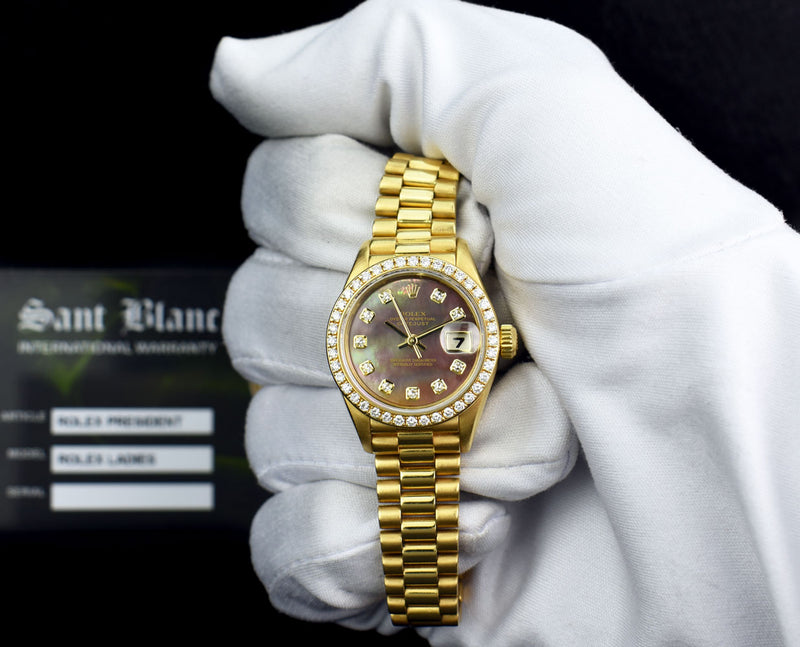 ROLEX - Ladies 18kt Gold President Datejust MOP Diamond Bezel 69138