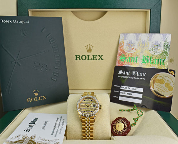 ROLEX Ladies 18kt Gold President Datejust Pave Diamond & Sapphire Model 69238