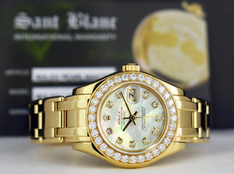 ROLEX Ladies 18kt Gold Pearlmaster Datejust MOP Dial DIAMOND Bezel 69298