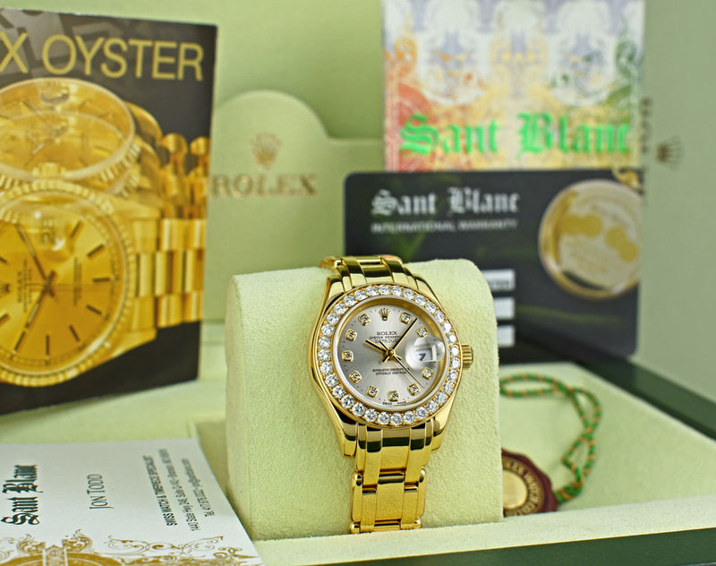 Copy of ROLEX 18kt Gold Ladies PearlMaster Masterpiece Silver Diamond Dial Model 69298