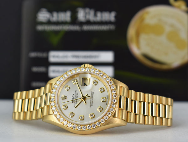 ROLEX - 18kt Gold PRESIDENT Datejust Diamond Bezel MOP DIAMOND 79138