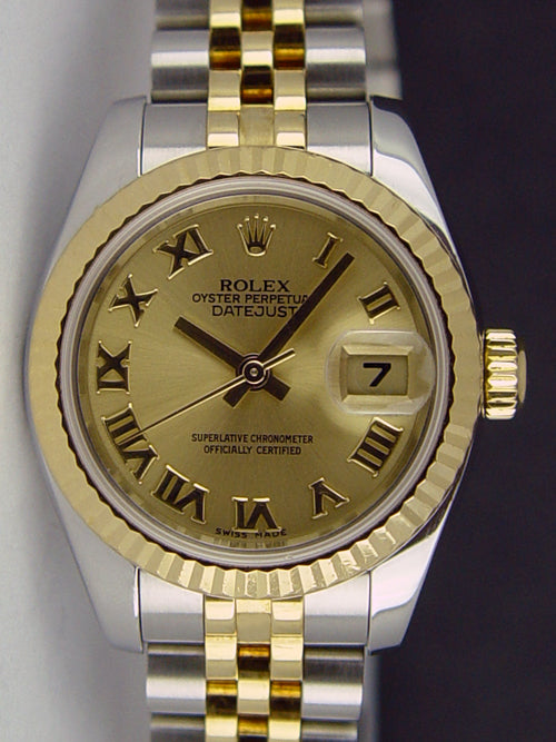 ROLEX Ladies 18kt Gold & Stainless DateJust Champagne Roman Dial Model 79173