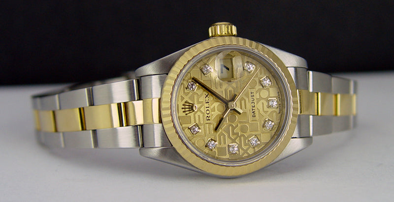 ROLEX Ladies 18kt Gold & Stainless DateJust Champagne Jubilee Diamond Dial Model 79173