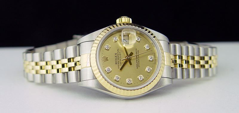 ROLEX 18kt Gold & Stainless Steel Ladies DateJust Champagne Diamond Dial Model 79173