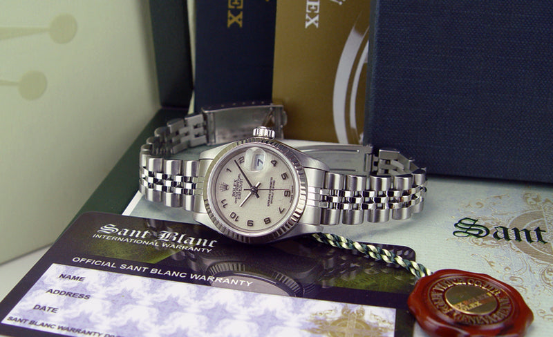 ROLEX White Gold & Stainless Steel DateJust Cream Arabic Dial Jubilee Band Model 79174