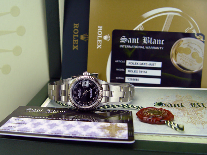 ROLEX 26mm Ladies 18kt White Gold & Stainless Steel DateJust Black Roman Dial Model 79174