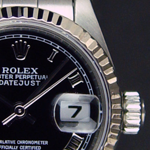 ROLEX - 26mm Ladies 18kt White Gold & SS DateJust Black Roman 79174