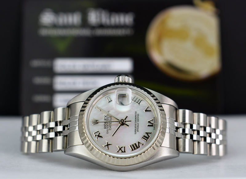 ROLEX - 26mm 18kt White Gold & Stainless Datejust MOP Roman 79174