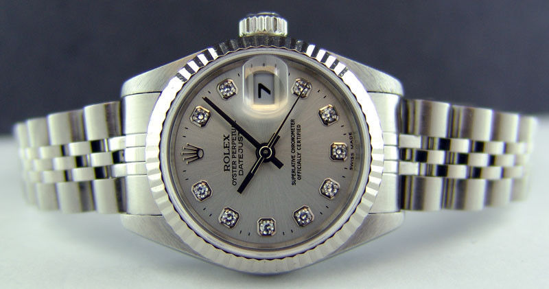 ROLEX Ladies 18kt White Gold & Stainless Steel DateJust Silver Diamond Dial Model 79174