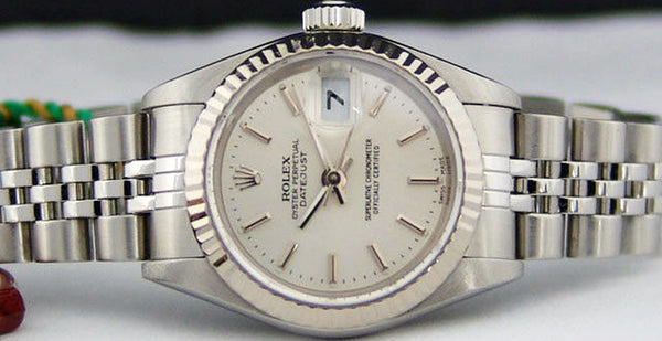 ROLEX Ladies 26mm 18kt White Gold & Stainless Steel Datejust Silver Stick Dial Model 79174