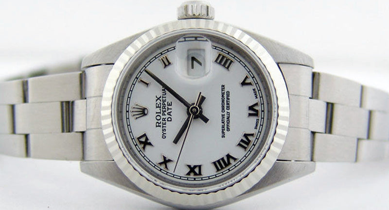 ROLEX 26mm Ladies 18kt White Gold & Stainless Steel DateJust White Roman Dial Model 79174