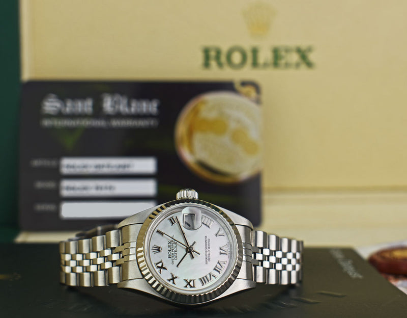 ROLEX - Ladies 18kt White Gold & SS DateJust MOP Roman Dial - 79174