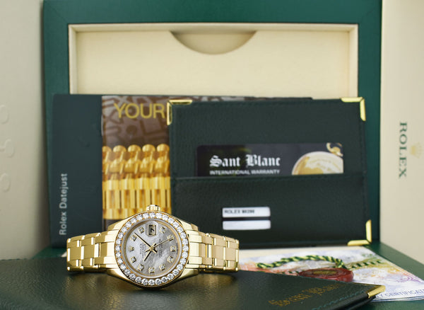 ROLEX REHAUT 18kt Gold PearlMaster Masterpiece MOP Diamond Dial Model 80298