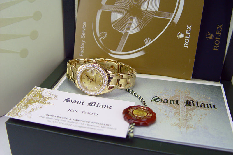 ROLEX 18kt Gold Pearlmaster Masterpiece Champagne Diamond Dial Model 80298