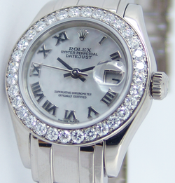 ROLEX Ladies 18kt White Gold Pearlmaster Masterpiece White MOP Roman Dial Model 80299
