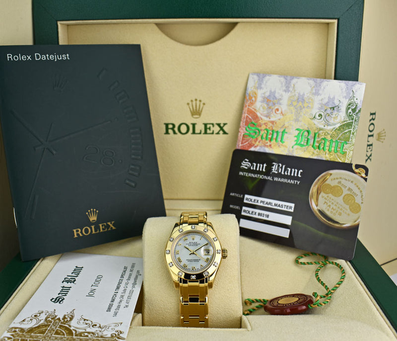 ROLEX Ladies 18kt Gold PEARLMASTER MASTERPIECE MOP Roman Dial Model 80318