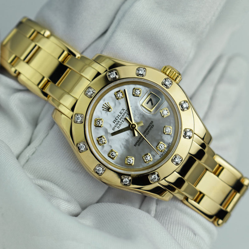 ROLEX Rehaut 18kt Gold Pearlmaster Masterpiece Mother of Pearl Diamond Model 80318