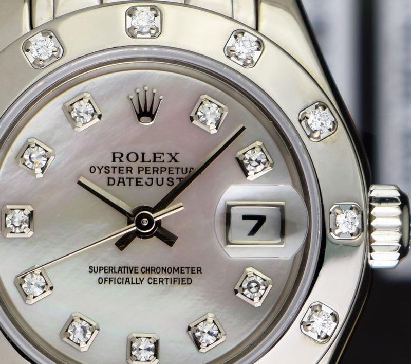 ROLEX -18kt White Gold PEARLMASTER MASTERPIECE MOP Diamond 80319