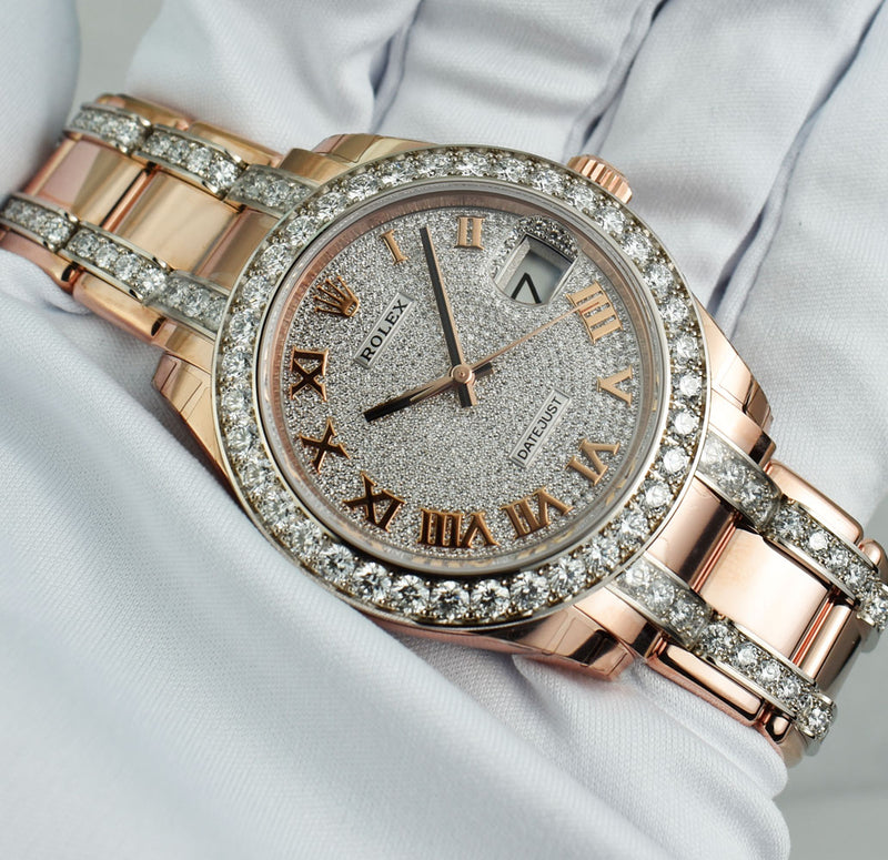 ROLEX - 2019 18kt Rose Gold MASTERPIECE Pave Diamond Bracelet 86285